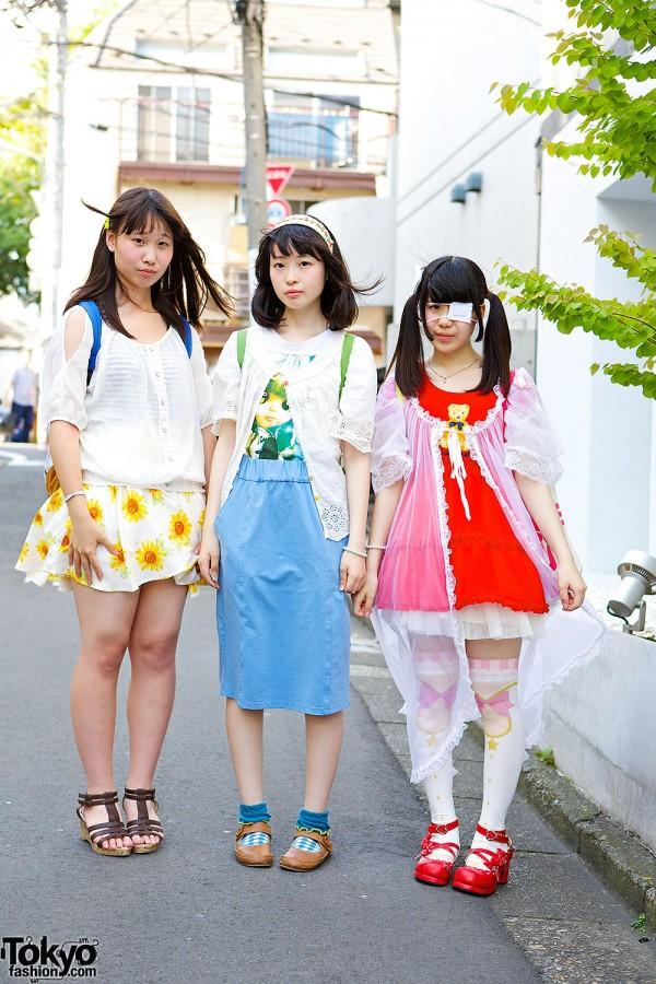 Harajuku Idol Girls w/ Plush Backpacks, Blythe, Teddy Bear Print, Swimmer & 6%DOKIDOKI