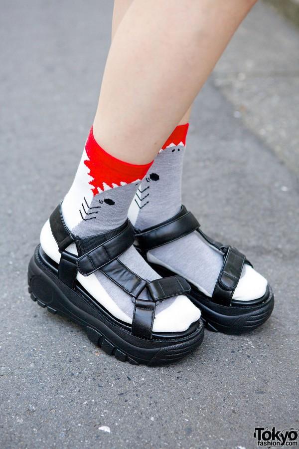 WEGO Sandals with Shark Socks