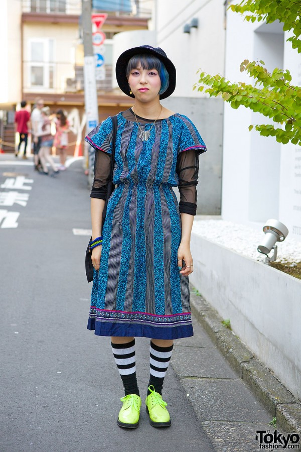 Harajuku Girl w/ Blue Hair in Resale Dress, Brogues & Monki Tote
