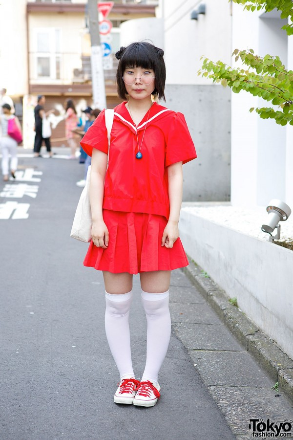 Harajuku Girl in Red Sailor Outfit