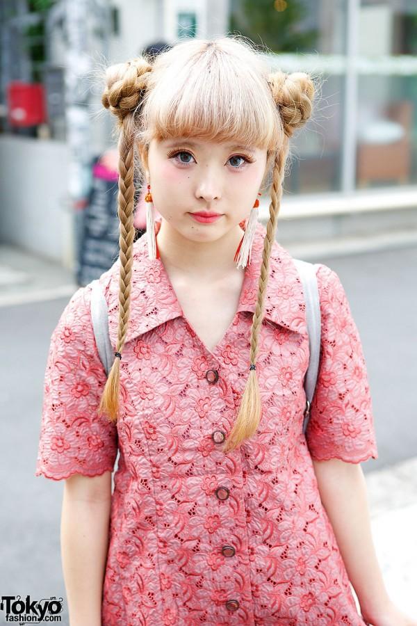 Pink Button Down Dress & Braided Hair