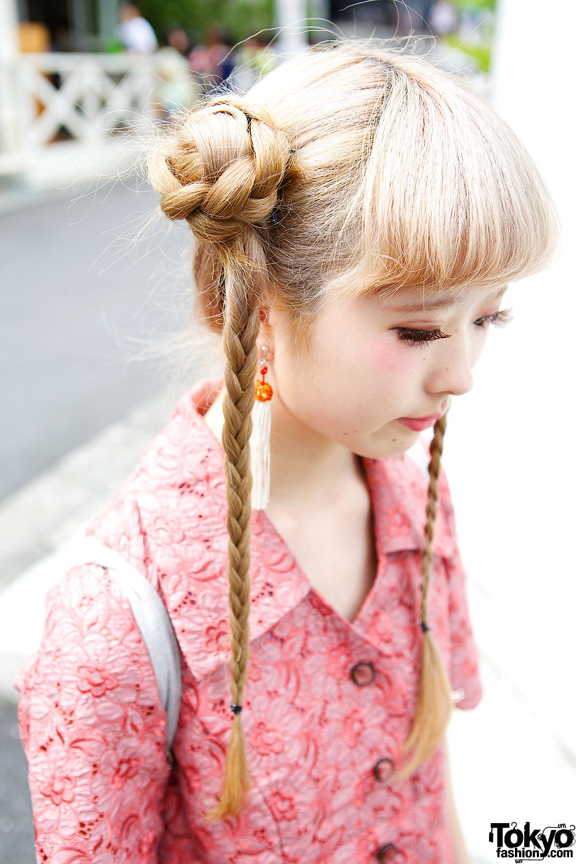 Cute Braids Hairstyle Floral Dress Faux Fur Sandals