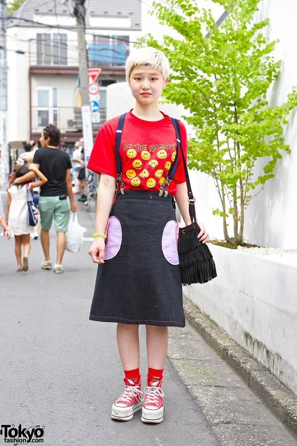 Harajuku Hair Salon Staffer w/ Smiley Faces, Suspender Skirt & Platform Converse