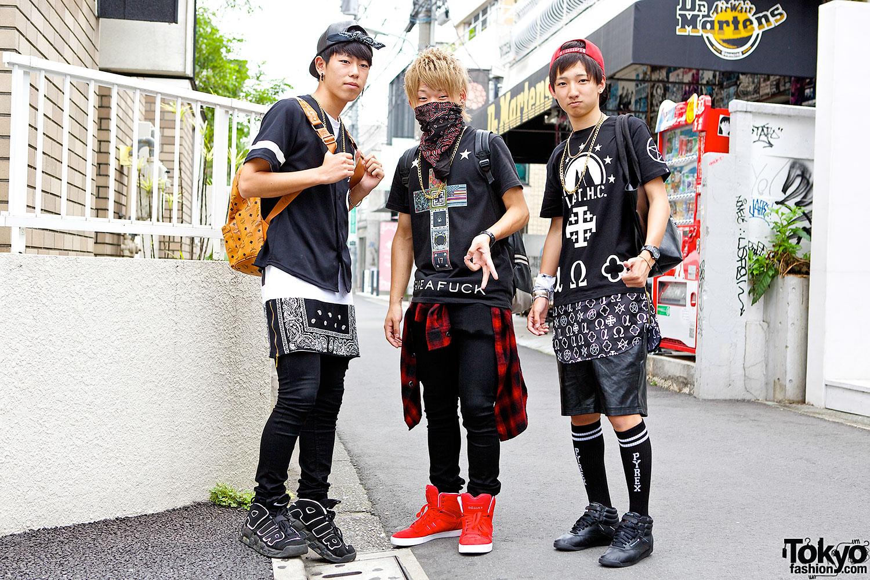 Harajuku Guys with Bandanas and Chains