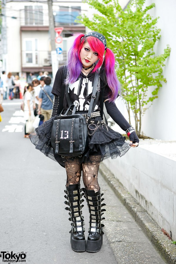 Lisa13 w/ Pink & Purple Hair, Sheer Skirt & Demonia Boots in Harajuku