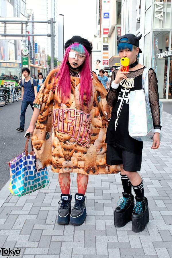 Pink & Blue Hair w/ Tata Christiane, OS Accessories & Long Clothing in Harajuku