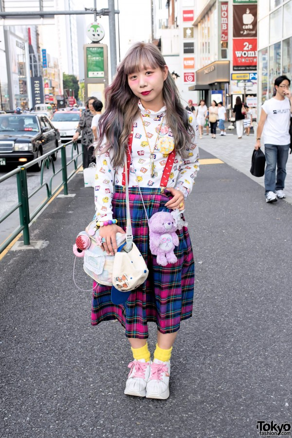 Harajuku Girl w/ Pastel Hair, Plaid Skirt, Care Bear, Tweety & Charlie Brown