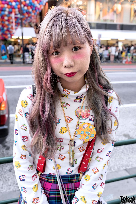 Harajuku Girl w/ Pastel Hair, Plaid Skirt, Care Bear, Tweety & Charlie Brown