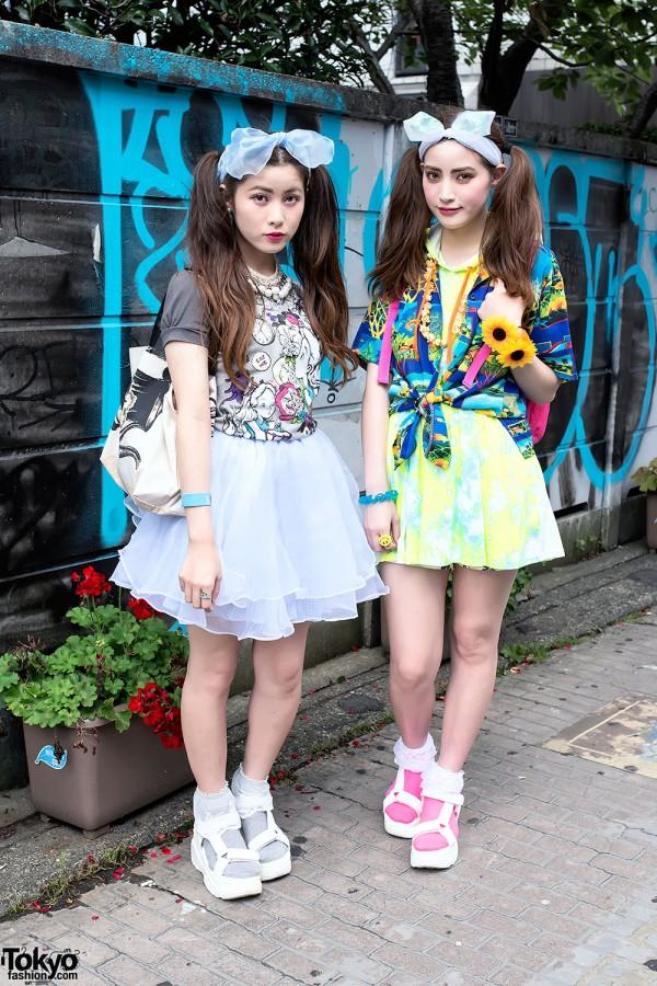 Harajuku Sisters in Twintails & WEGO Platform Sandals w/ Disney Accessories