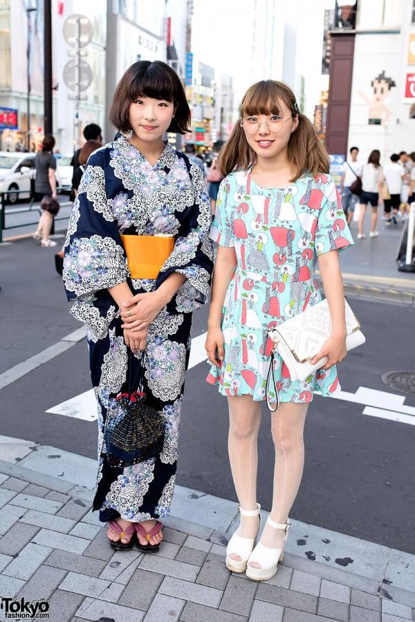 Flower Print Yukata vs Colorful Dress & Round Glasses in Harajuku