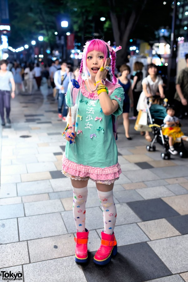"""Haruka Kurebayashi w/ """"Magical Girl"""" Dress & Pink Braids in Harajuku"""
