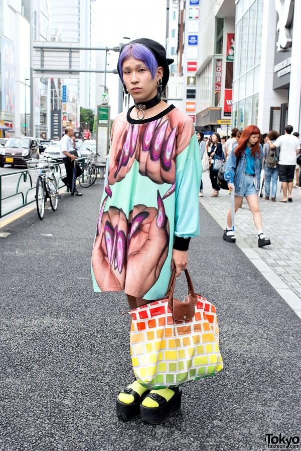 Purple Hair, MYOB Earrings, W.I.A Top & Jeremy Scott Bag in Harajuku