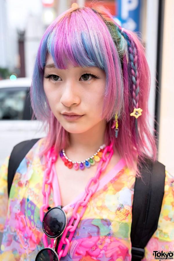 Pink Blue Braids Hair in Harajuku