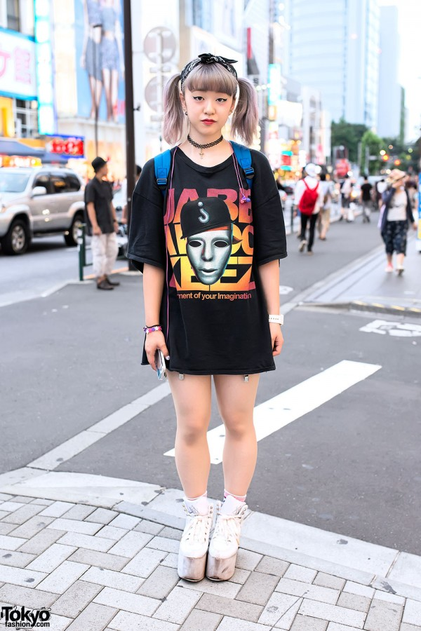 Pastel Hair, Resale Top, YRU Platforms & LEGO Backpack in Harajuku