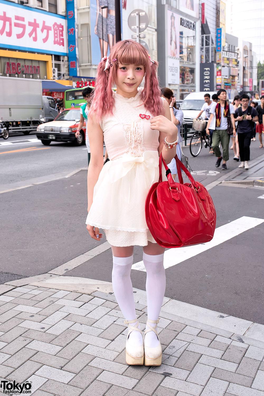 Cute Pink Hair, Swankiss Corset, Heart Handbag, Katie