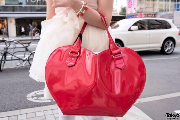 Red Heart Shaped Handbag by RNA Japan