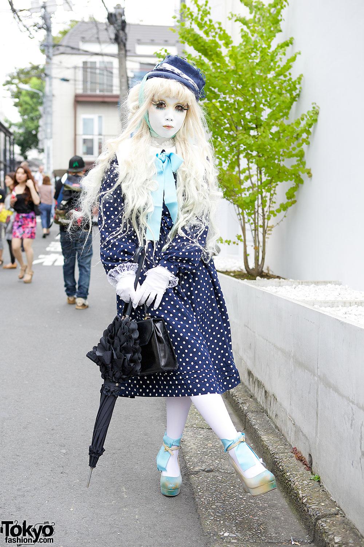 Shironuri Minori in Polka Dots in Harajuku
