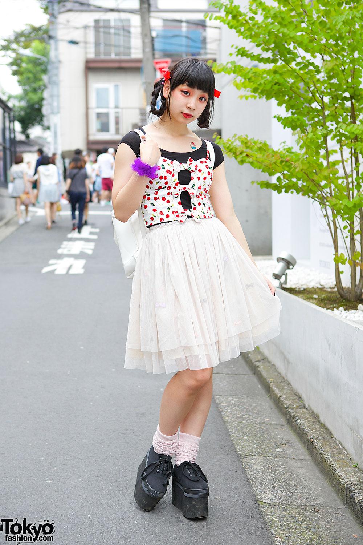 Harajuku Girl in Cherry Print & Tutu