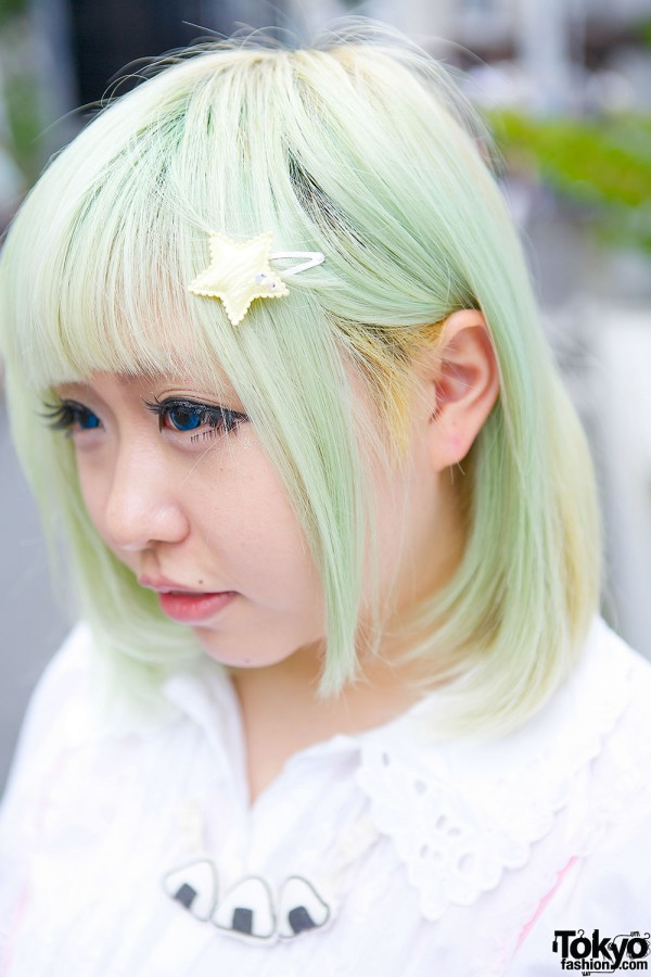 Green Hair with Star Pin