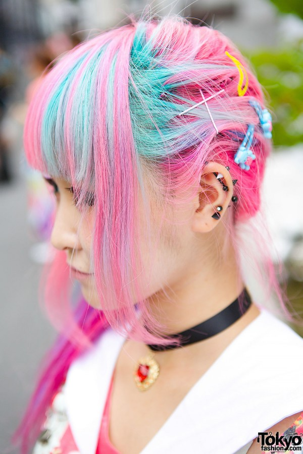 Blue & Pink Hair With Pins