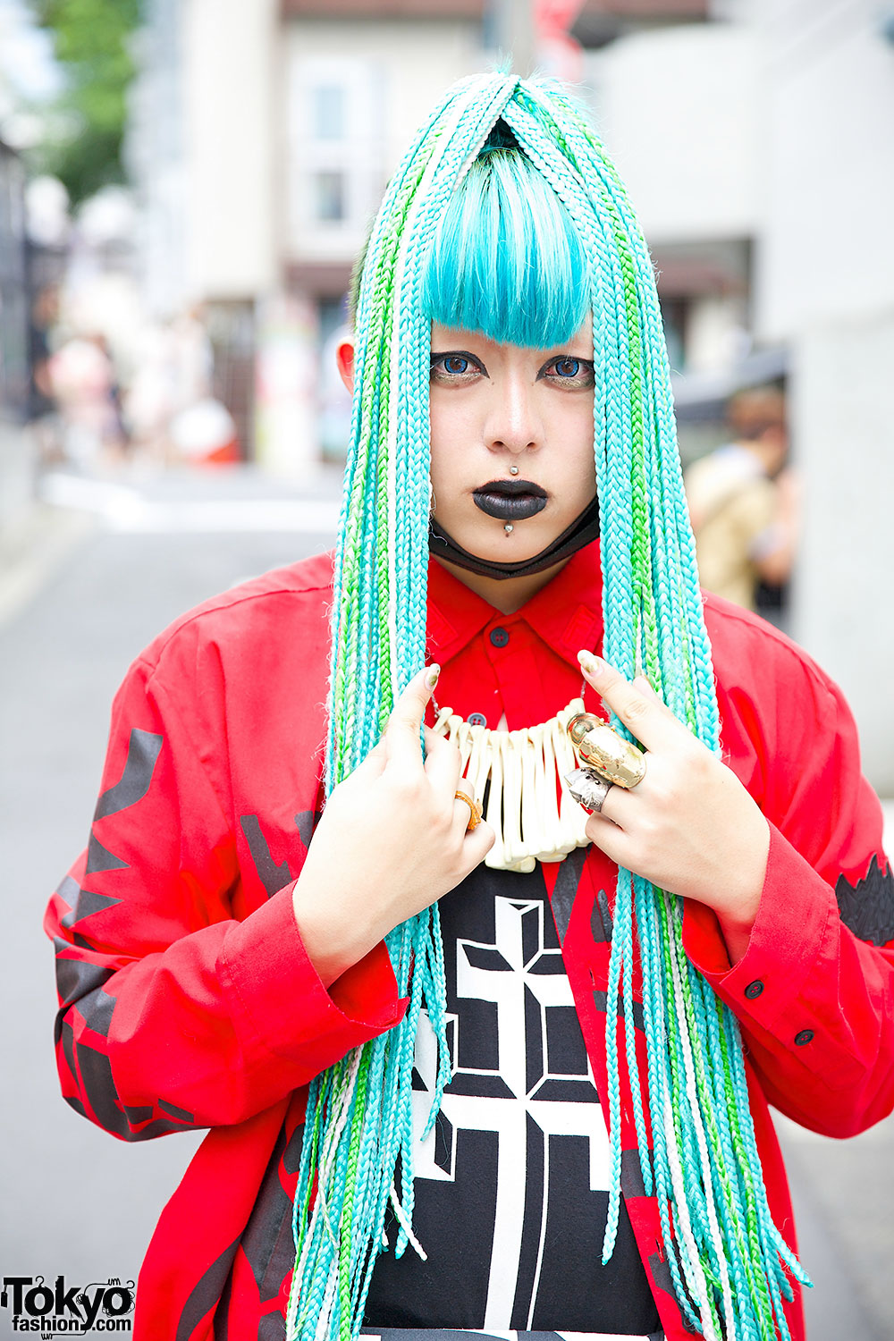 Blue Haired Brooke Candy Fan In Harajuku W Long Clothing