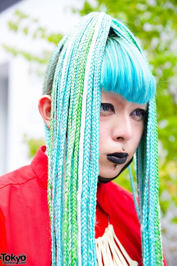 Turqouise Braided Hair & Black Lipstick