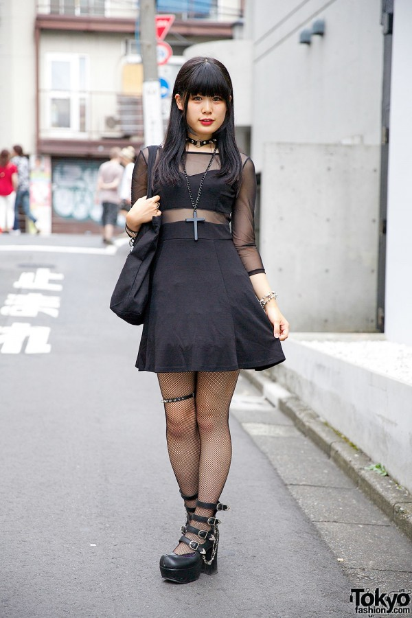 All Black Sheer Panel Dress w/ Hellcatpunks & Ghost of Harlem in Harajuku