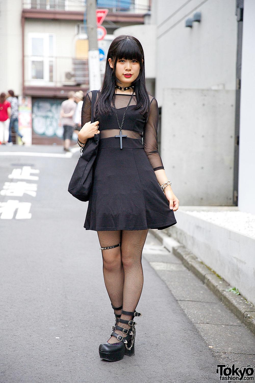 Japanese Street Fashion Trends: All Black Sheer Panel Dress W/ Hellcatpunks & Ghost Of
