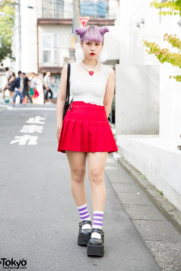 Lilac Twin Buns w/ Lace Top, Pleated Skirt & Pompom Earrings in Harajuku