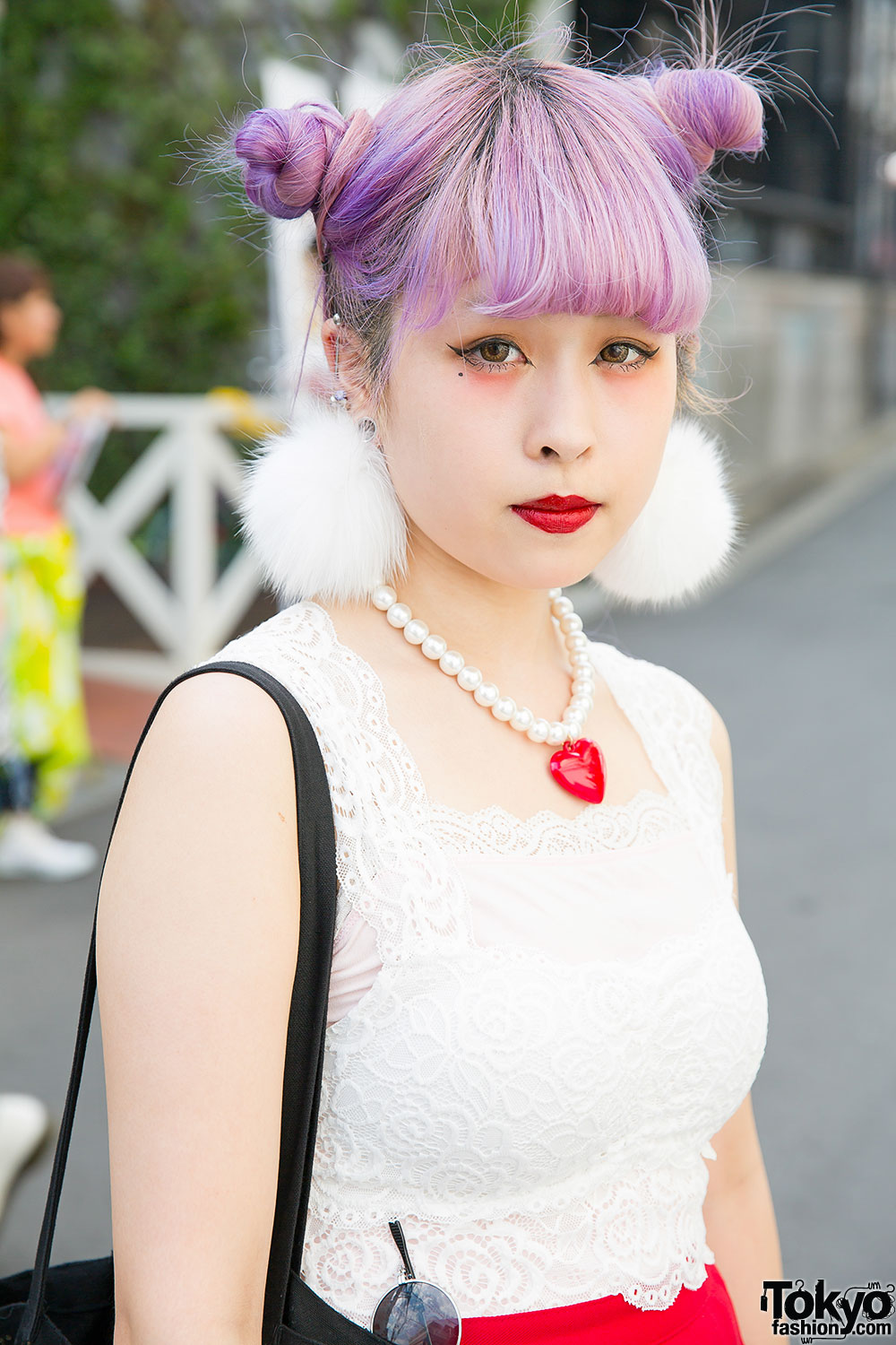Lilac Twin Buns W Lace Top Pleated Skirt Amp Pompom