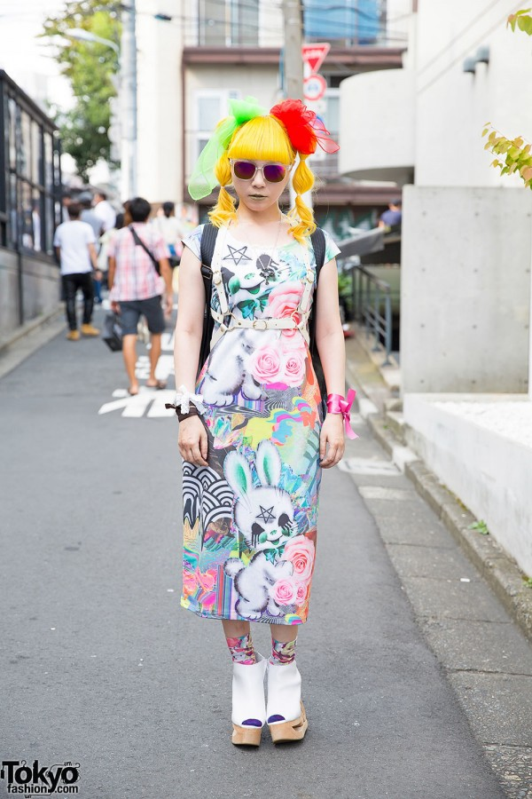 Yellow Twintails, Disturbia Clothing, Leather Harness & Beauty:Beast in Harajuku