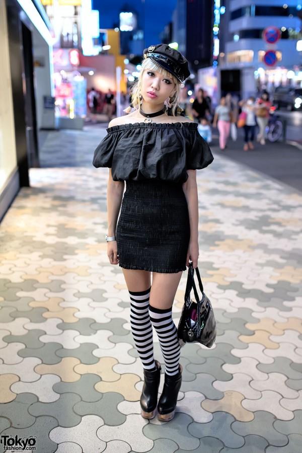 Blonde Braids, Bodycon, Striped Socks & Doll Head Platforms in Harajuku