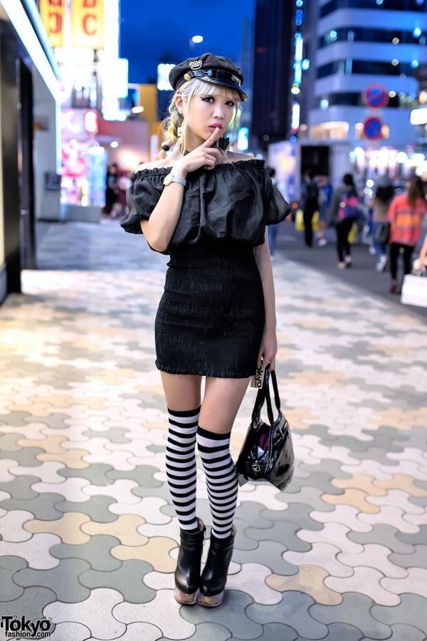 Blonde Harajuku Girl in Bodycon Dress