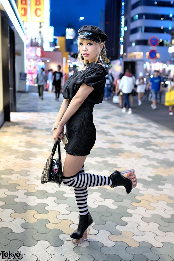 Blonde Braids Bodycon Striped Socks Amp Doll Head
