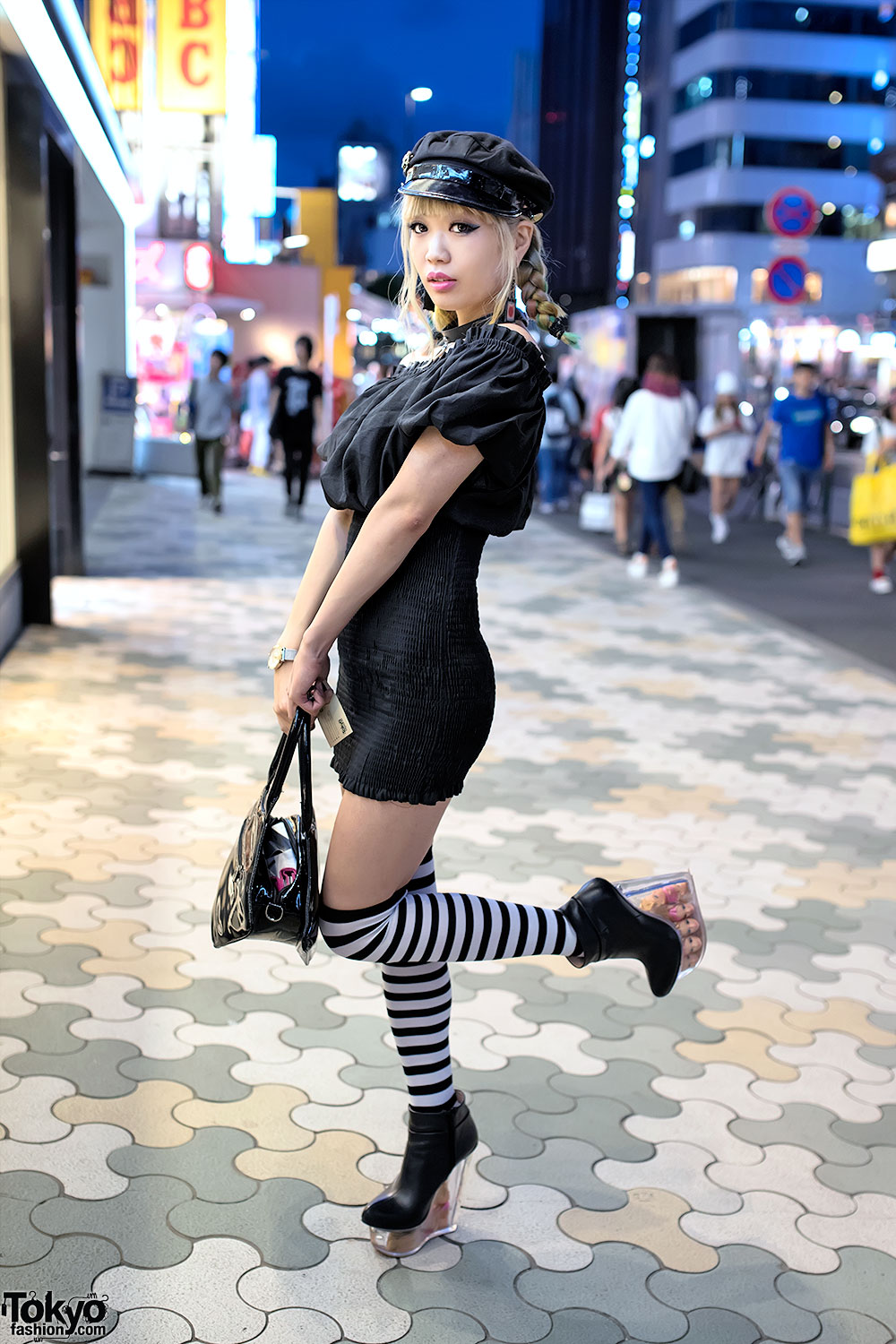 Blonde Braids, Bodycon, Striped Socks & Doll Head Platforms in Harajuku