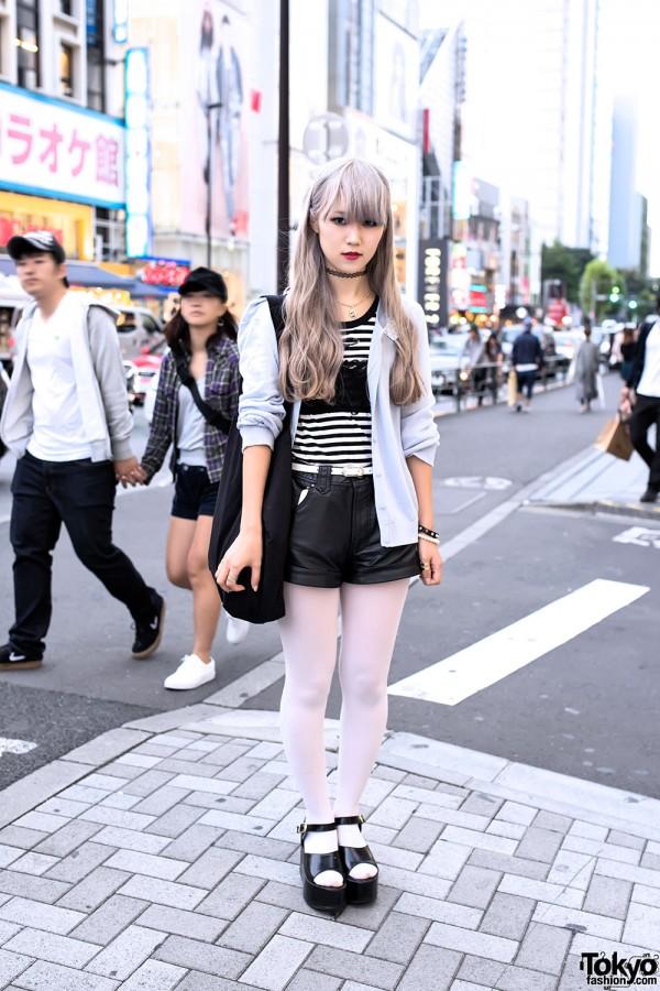 Pastel Hair, HEIHEI Dalmatians Pin, Cardigan & Platform Sandals in Harajuku