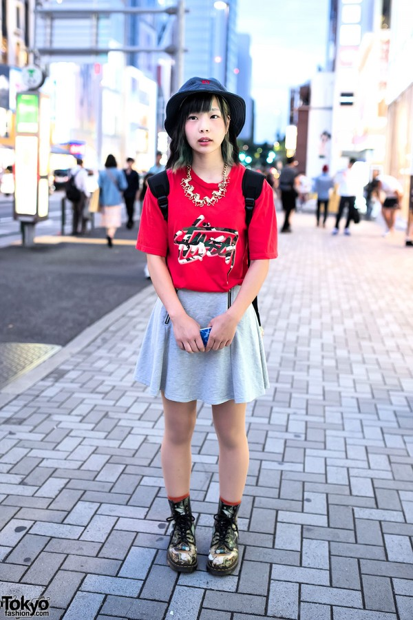 Bucket Hat, Stussy, Dr. Martens Boots & Adidas Backpack in Harajuku