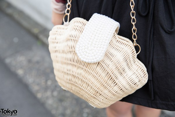 GRL Straw & Pearls Purse