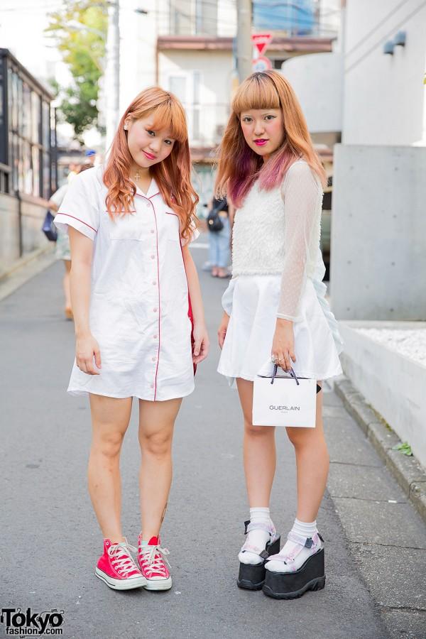 Blonde Harajuku Girls in All White