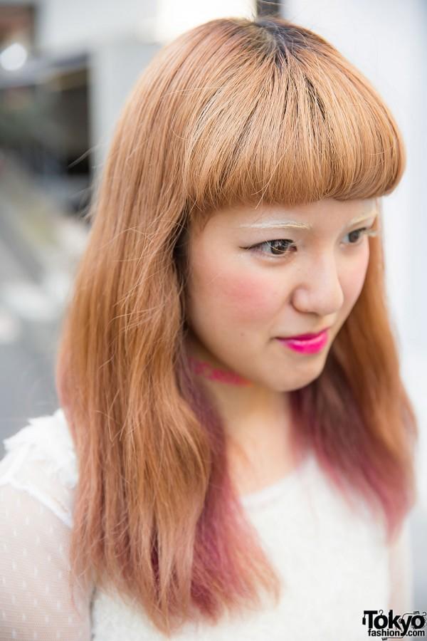 Pink Tipped Hair in Harajuku