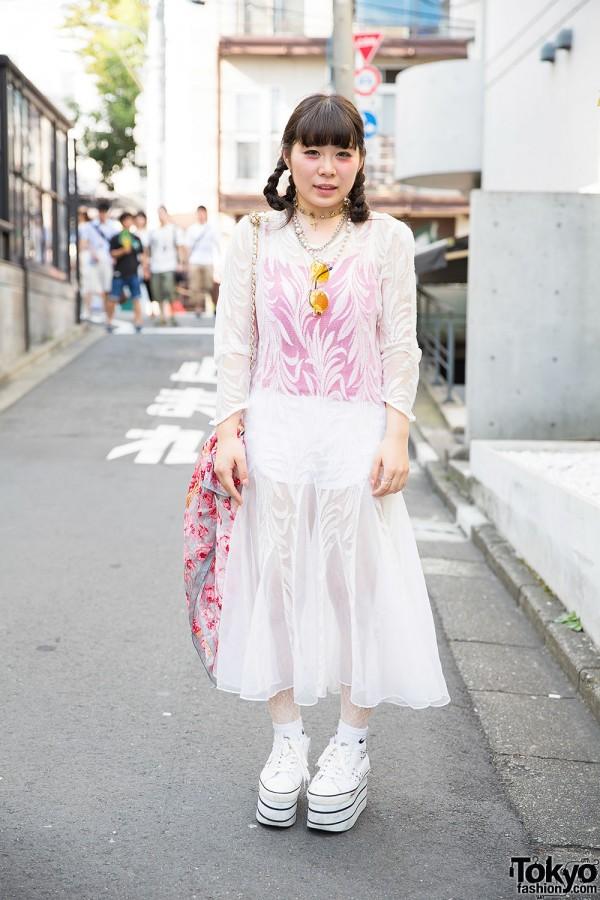Harajuku Girl w/ Braided Hair, Resale Sheer Dress, Cross Choker & Platform Sneakers