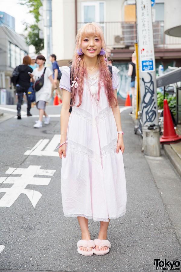 Long White Dress & Pink Hair