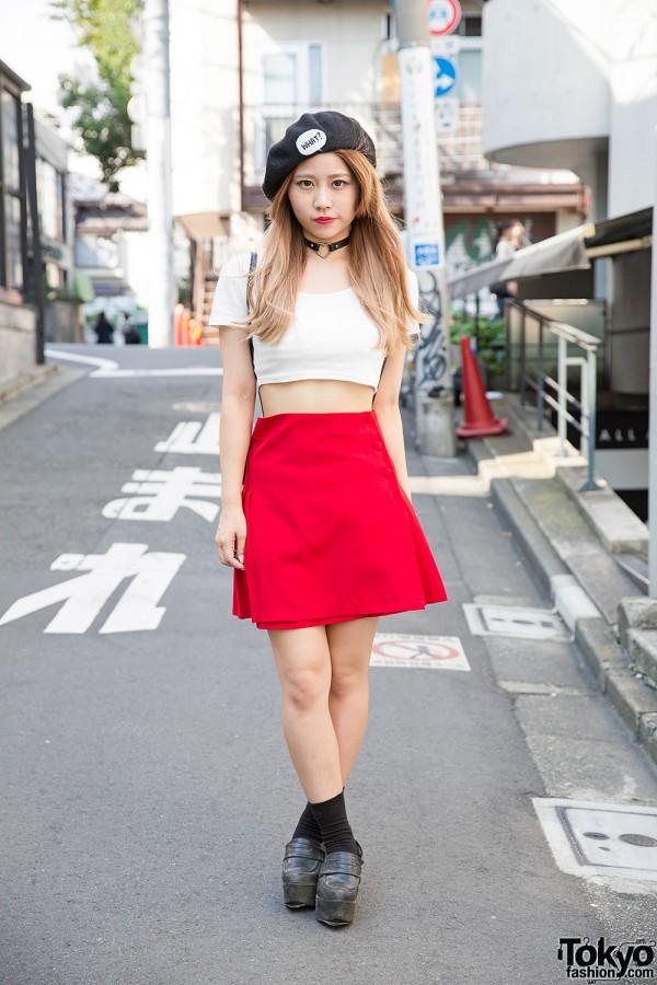 Black Beret, Heart Choker, Nadia Skirt & Moussy Platform Loafers in Harajuku