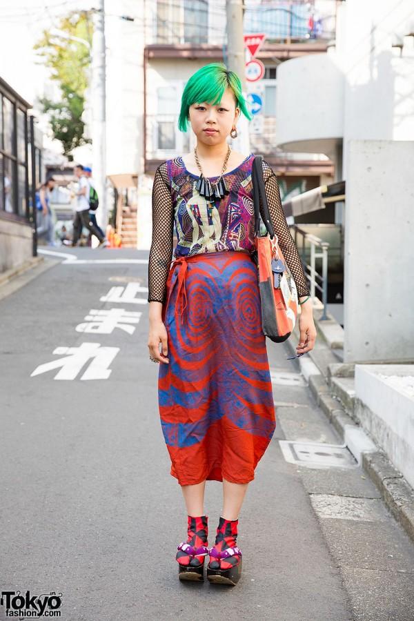 Green Haired Harajuku Girl w/ Piercings, Dog Osaka, Pin Nap & Hayatochiri