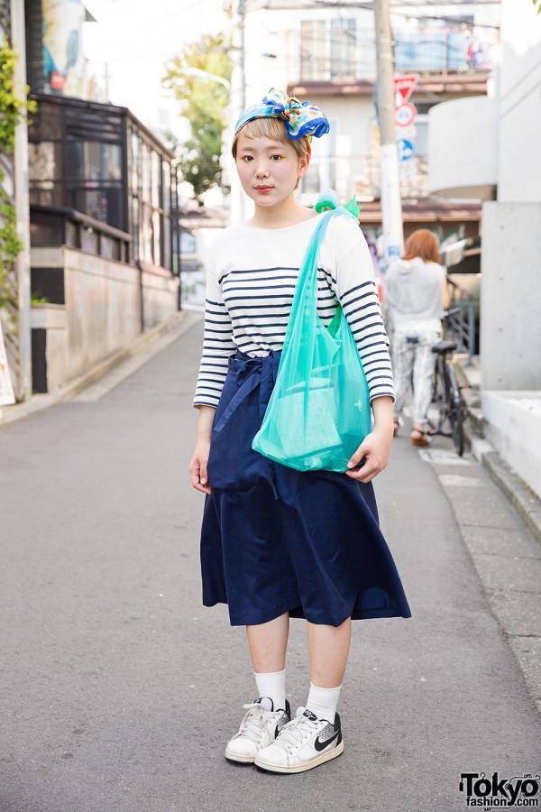 Cute Short Hairstyle & Headscarf w/ Lagimusim Bag & Resale Fashion in Harajuku