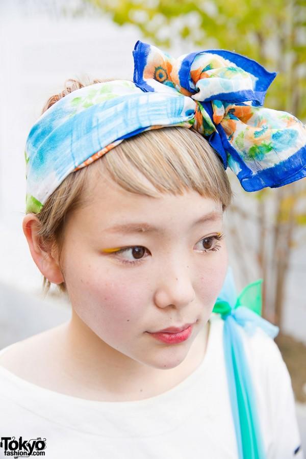 Cute Short Hairstyle & Headscarf