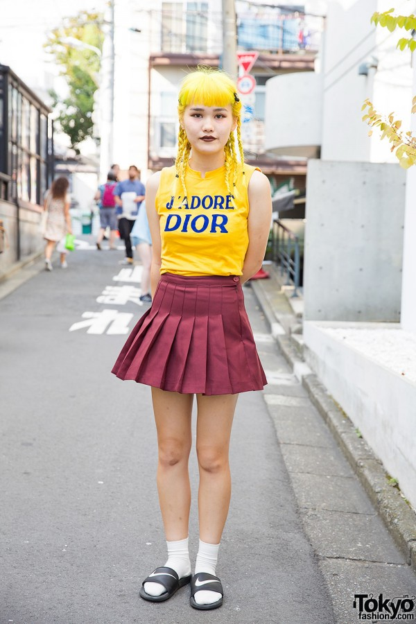 Yellow Hair in Braids, J'adore Dior Top & Pleated Skirt in Harajuku