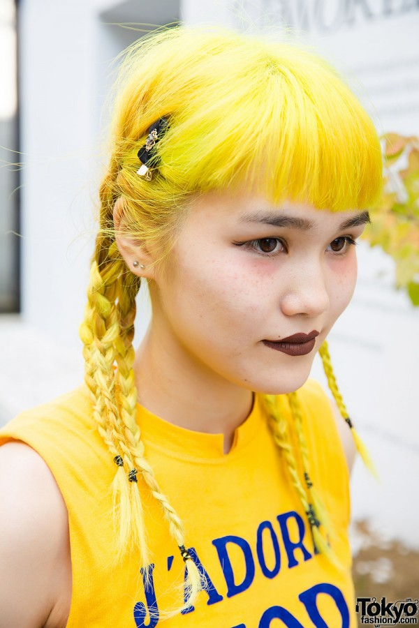 Yellow Hair In Braids J Adore Dior Top Amp Pleated Skirt In