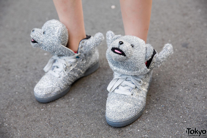 adidas jeremy scott bear silver
