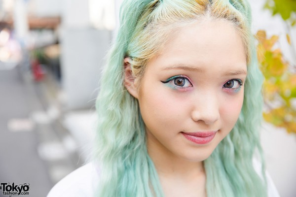 Pastel Eye Makeup & Green Hair